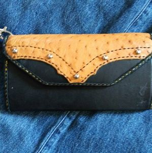 LJ Ostrich and Leather Wallet